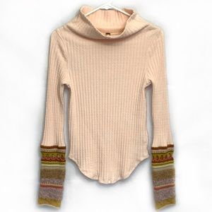 Free People Mixed Up Cuff Peach Cowl Neck Sweater
